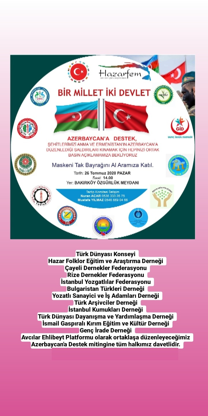 Azerbaycan'a Destek Mitingi Davetiyesi
